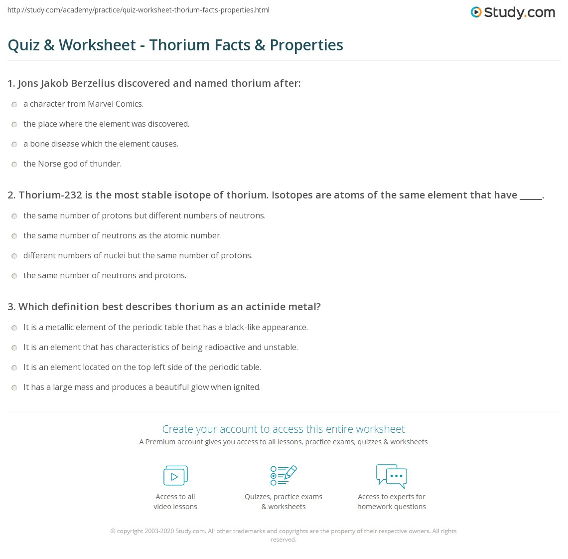 Quiz worksheet thorium facts properties study already registered login here for access gamestrikefo Image collections
