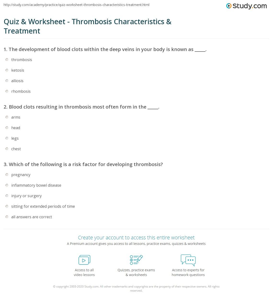 quiz & worksheet - thrombosis characteristics & treatment | study