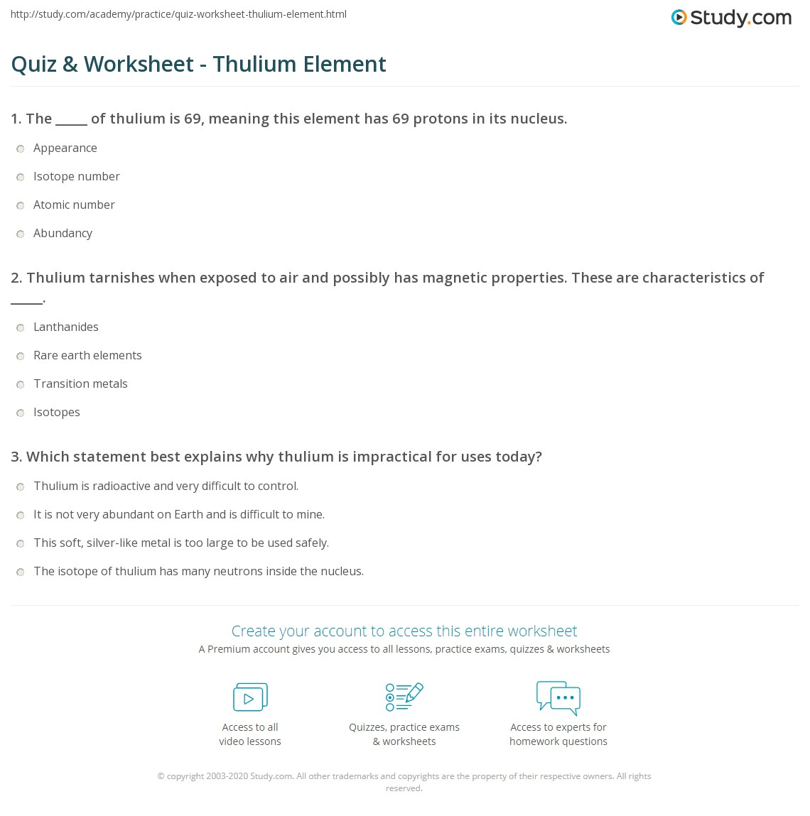 Quiz worksheet thulium element study print thulium uses facts properties worksheet gamestrikefo Gallery