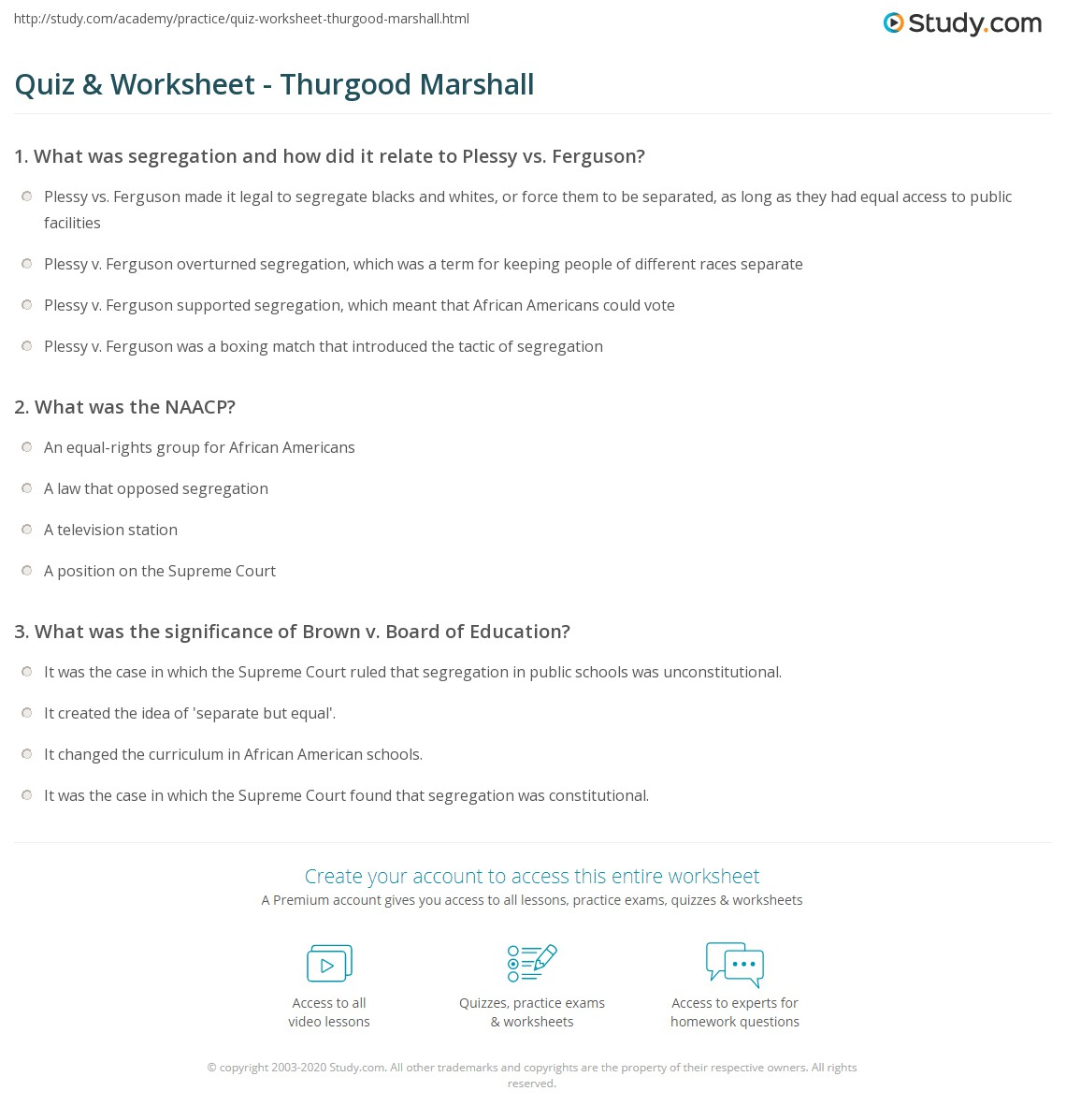 quiz worksheet thurgood marshall com print who was thurgood marshall biography facts accomplishments worksheet