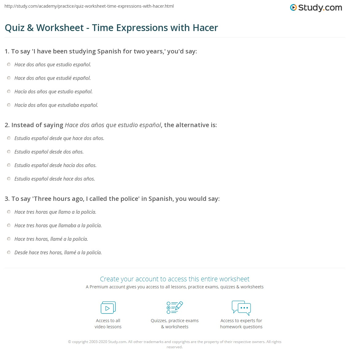 Quiz & Worksheet - Time Expressions with Hacer | Study com
