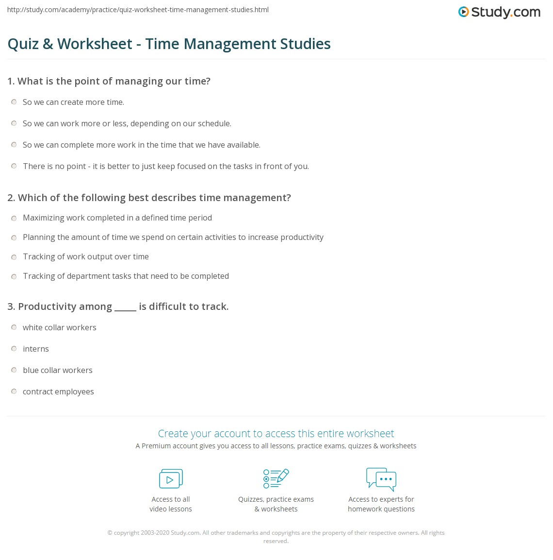 Study management worksheet