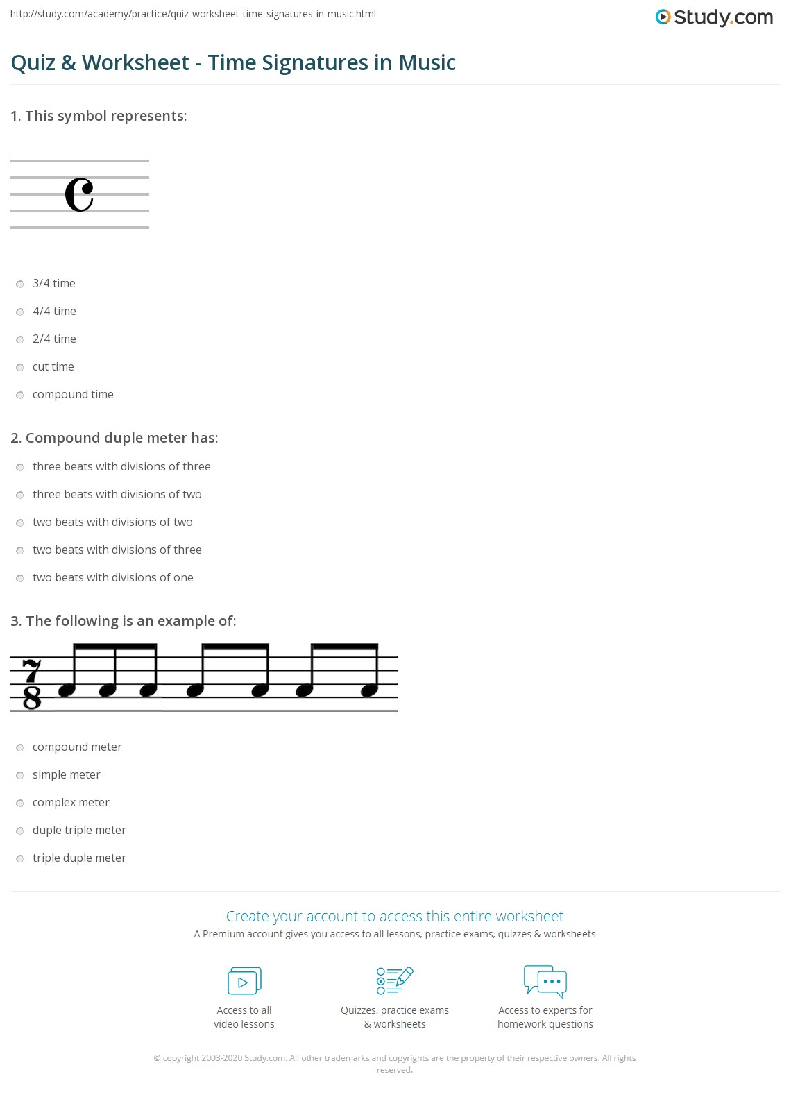 Quiz & Worksheet - Time Signatures in Music | Study.com