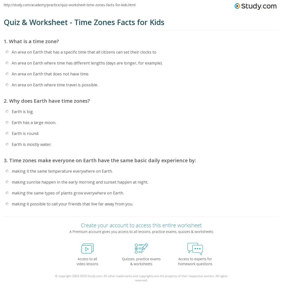 Quiz & Worksheet - Time Zones Facts for Kids | Study.com