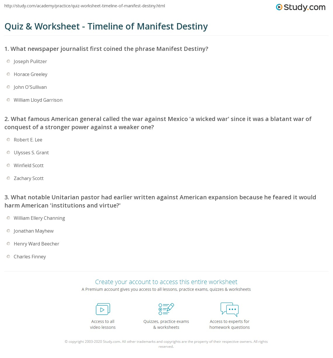 worksheet Manifest Destiny Worksheet quiz worksheet timeline of manifest destiny study com print definition summary and worksheet