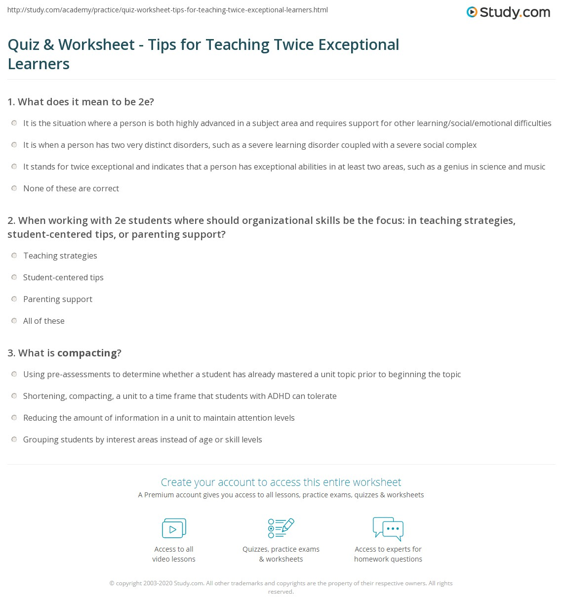 quiz worksheet tips for teaching twice exceptional learners when working 2e students where should organizational skills be the focus in teaching strategies student centered tips or parenting support