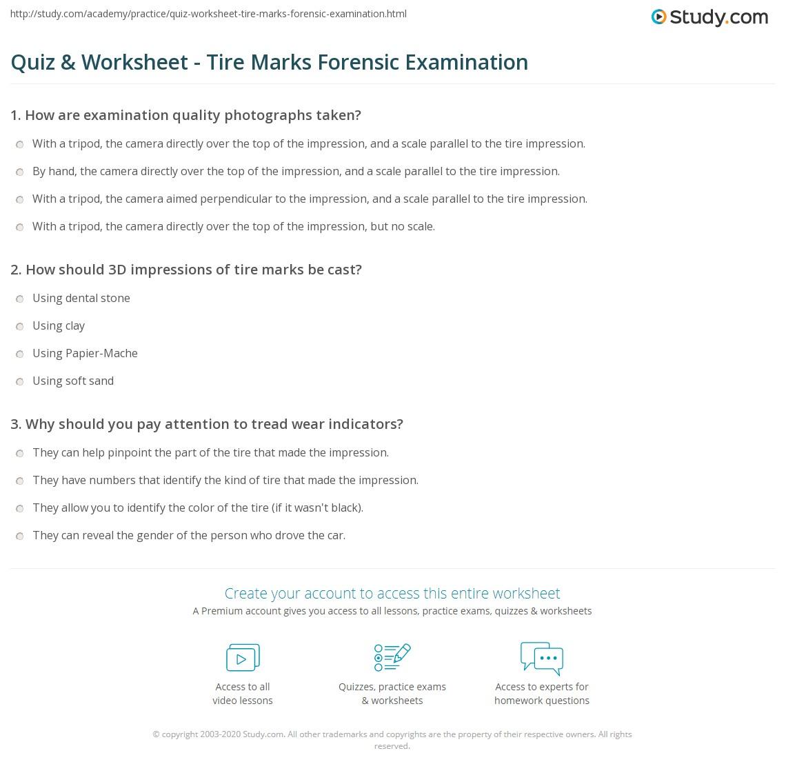 worksheet Impression Evidence Worksheet quiz worksheet tire marks forensic examination study com print methods purpose worksheet