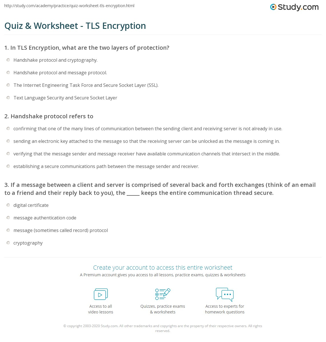 Quiz & Worksheet - TLS Encryption | Study.com