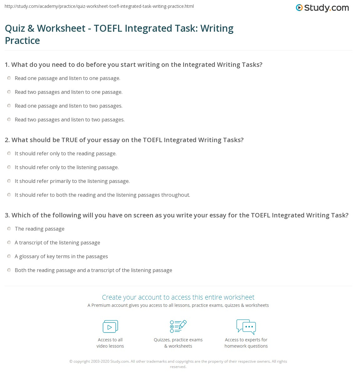 toefl writing format