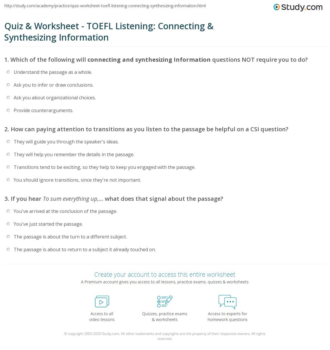Quiz worksheet toefl listening connecting synthesizing print toefl listening practice connecting synthesizing information worksheet yadclub Choice Image