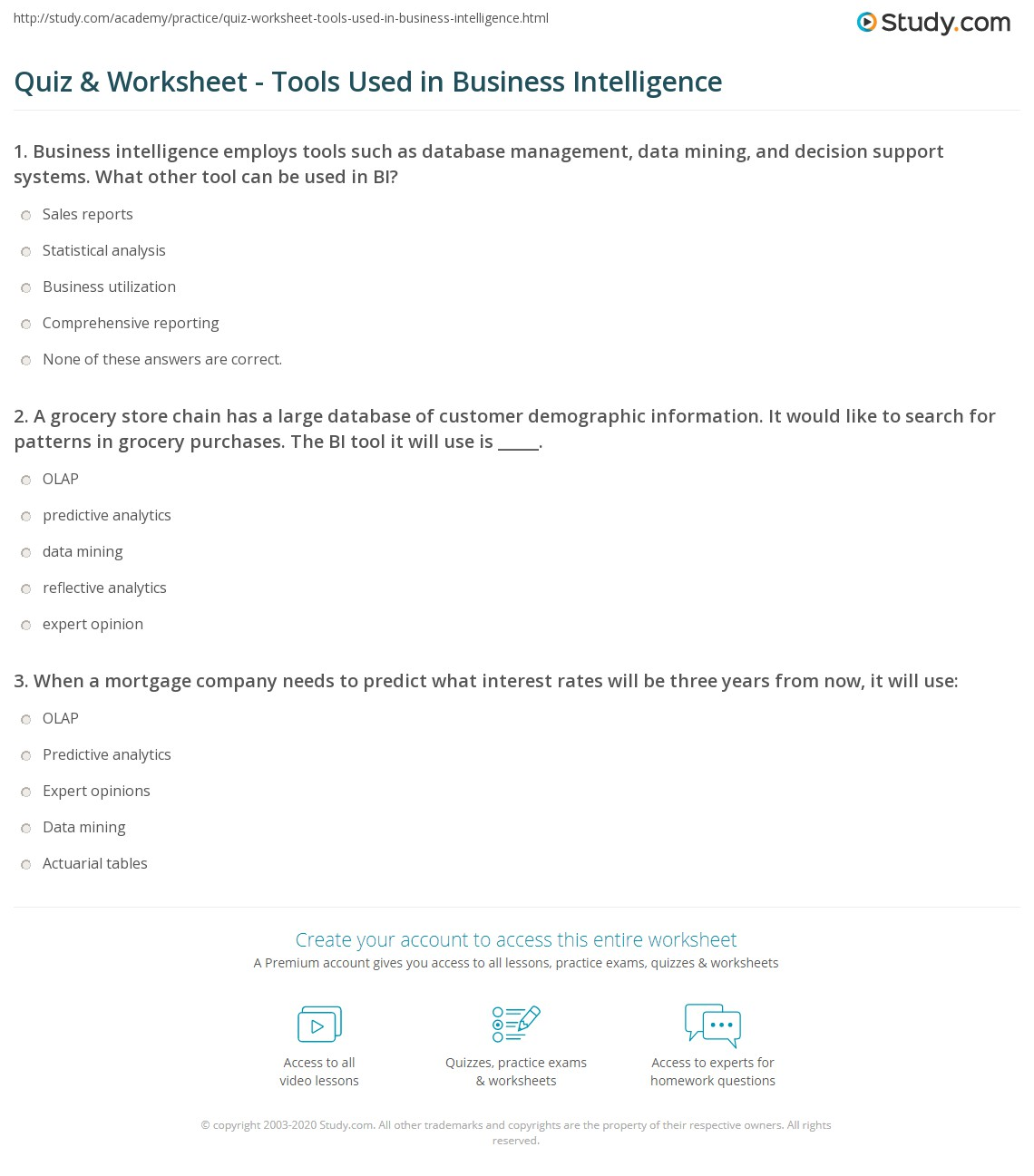 Quiz worksheet tools used in business intelligence study print business intelligence bi organizing categorizing and accessing data worksheet 1betcityfo Gallery