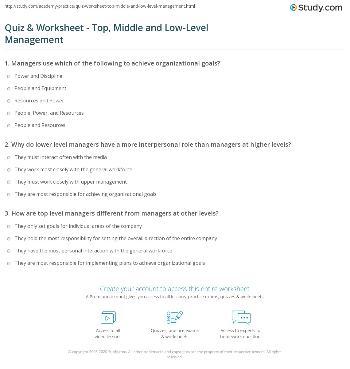 Quiz & Worksheet - Top, Middle and Low-Level Management | Study.com