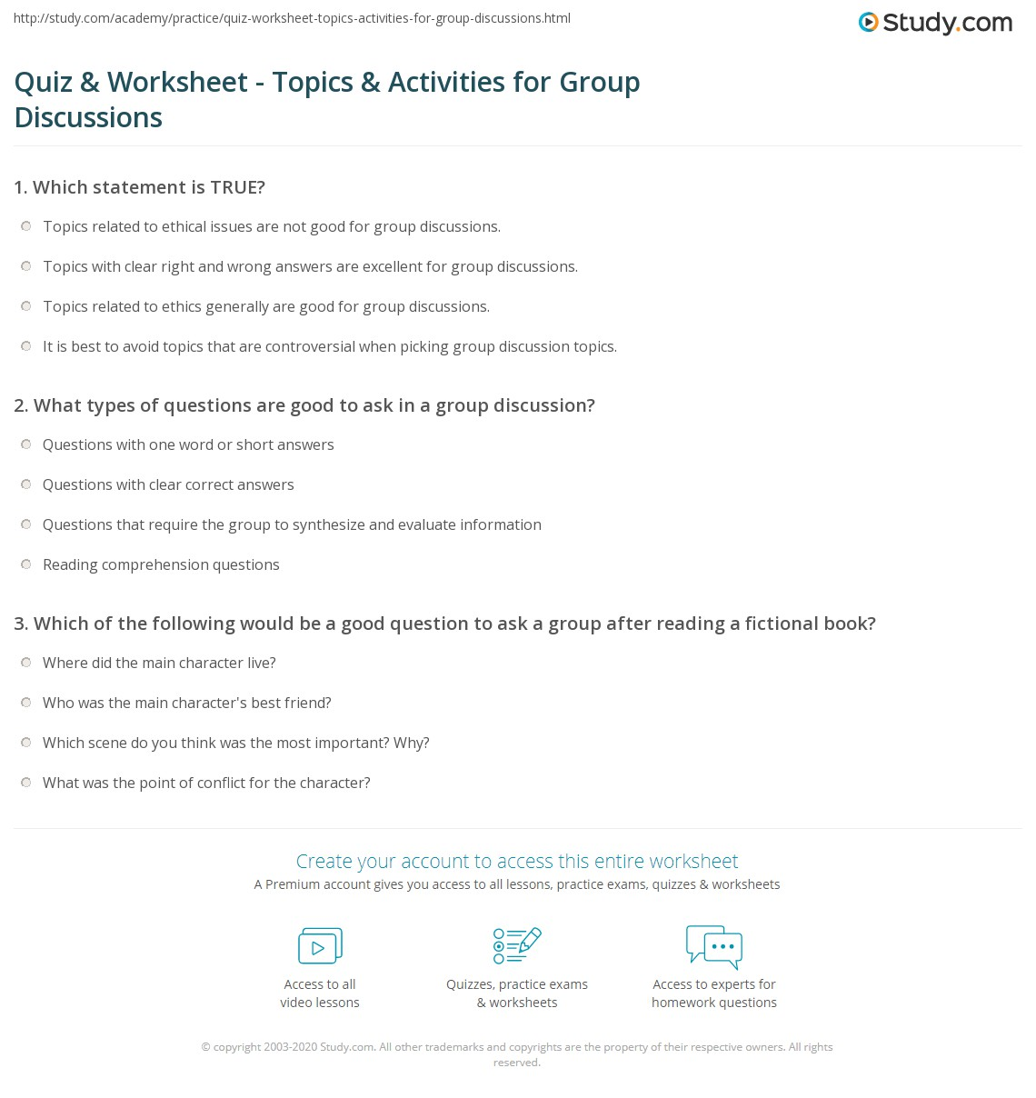 Quiz worksheet topics activities for group discussions study print group discussion questions topics and activities worksheet fandeluxe Choice Image