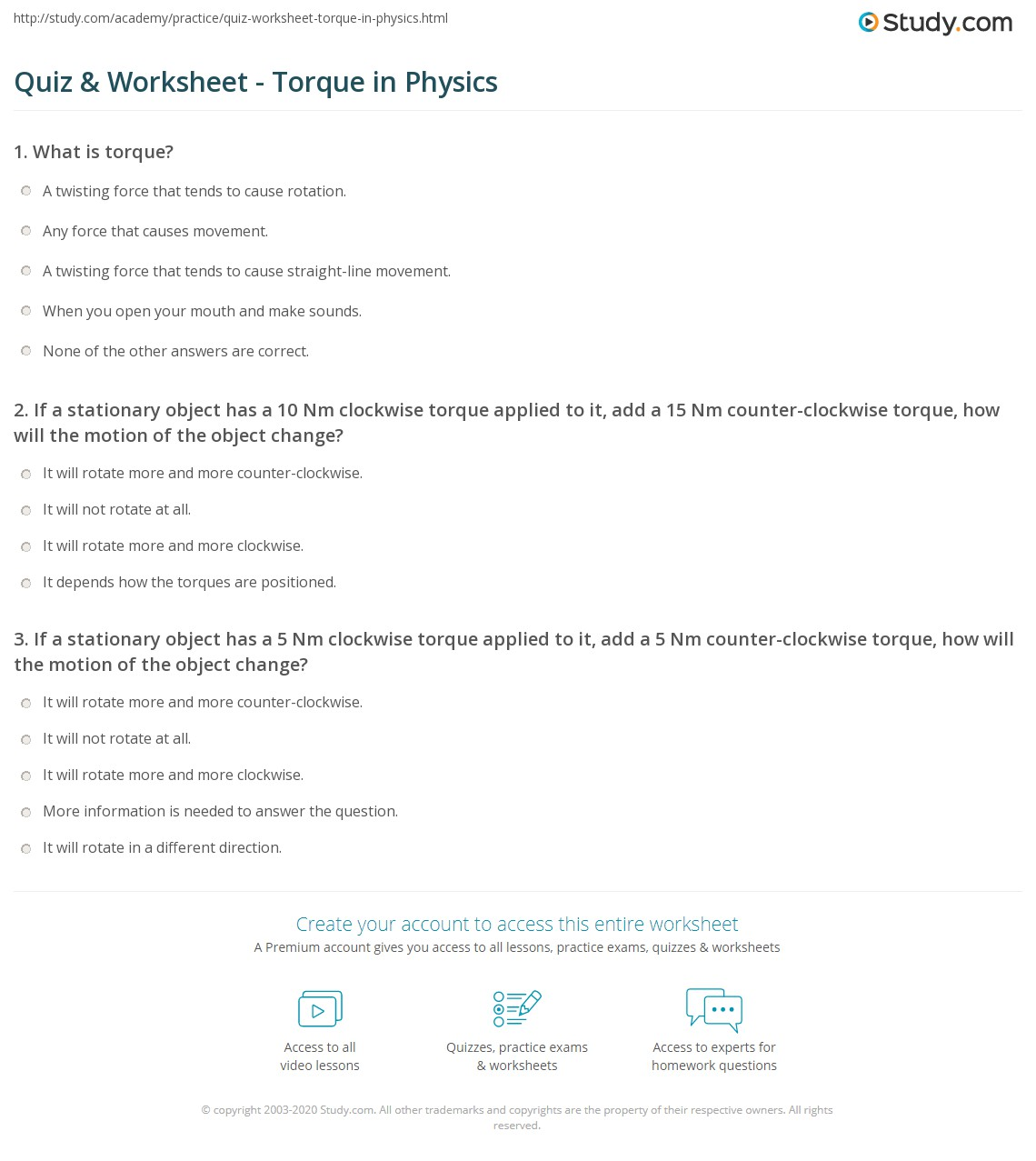 quiz worksheet torque in physics. Black Bedroom Furniture Sets. Home Design Ideas