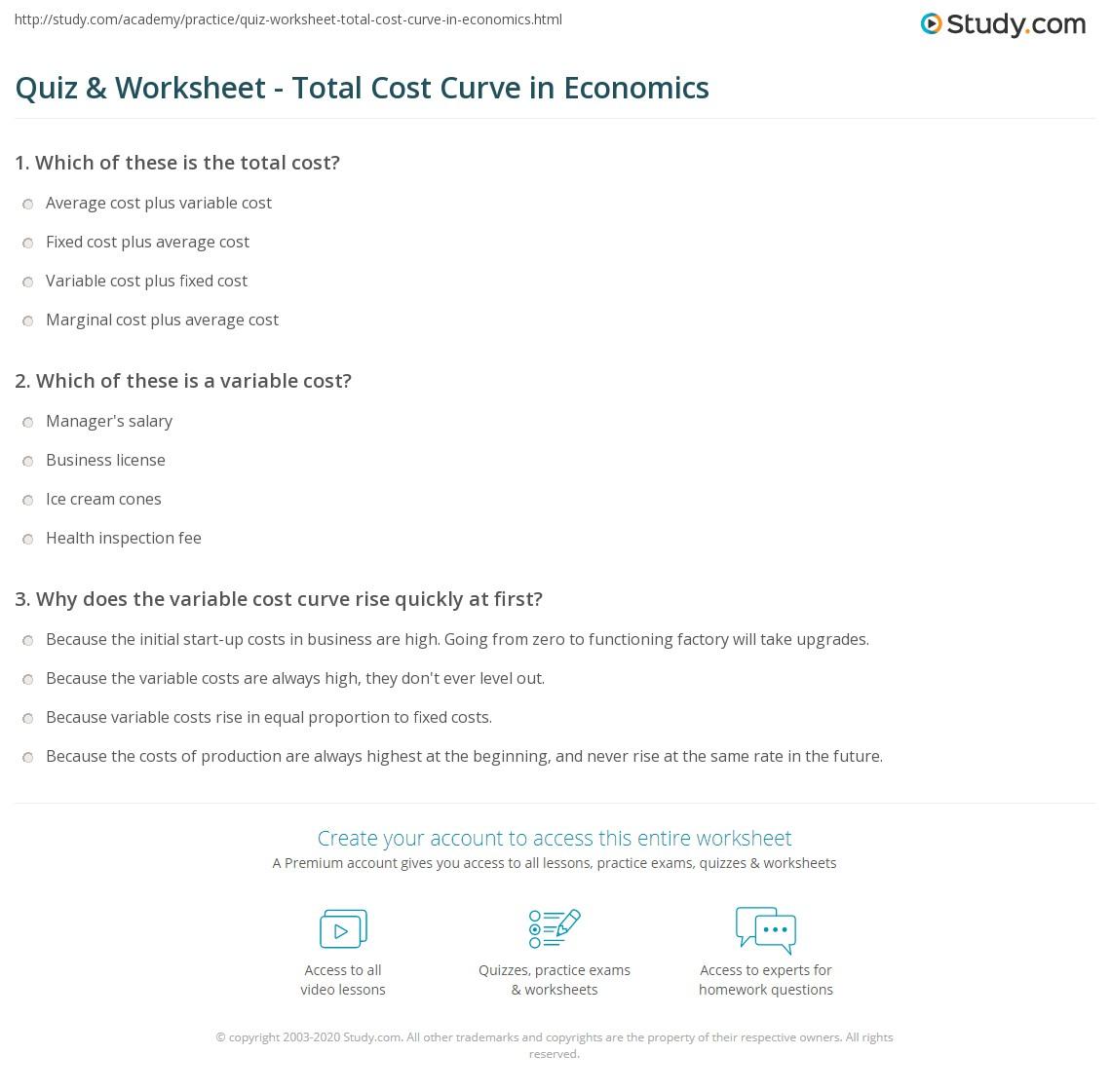 quiz worksheet total cost curve in economics. Black Bedroom Furniture Sets. Home Design Ideas