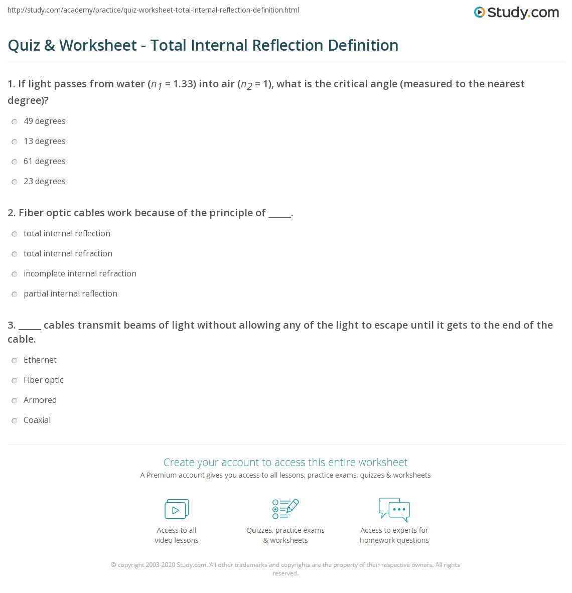 Quiz worksheet total internal reflection definition study print total internal reflection fiber optic cables worksheet pooptronica Choice Image