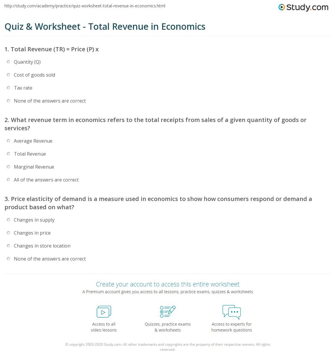 total revenue economics formula
