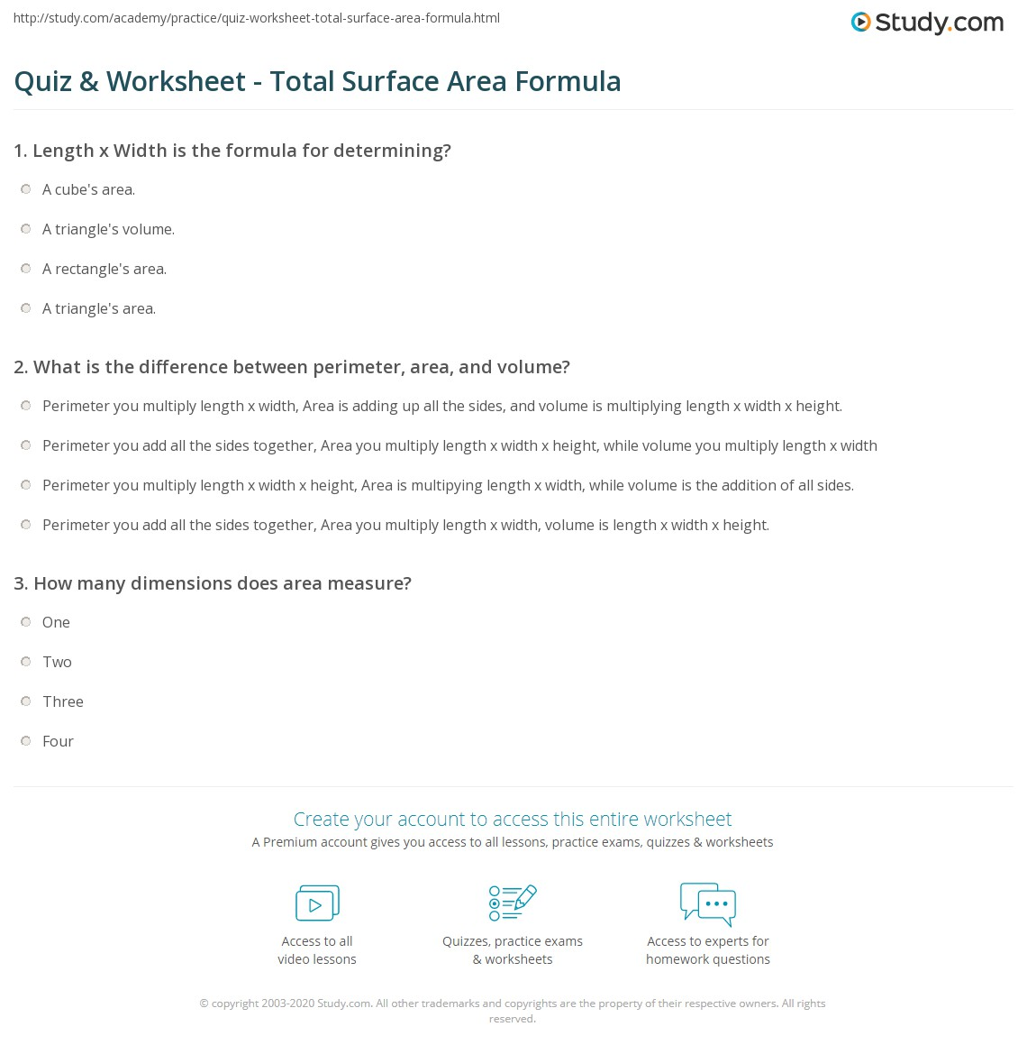 Quiz & Worksheet - Total Surface Area Formula | Study.com
