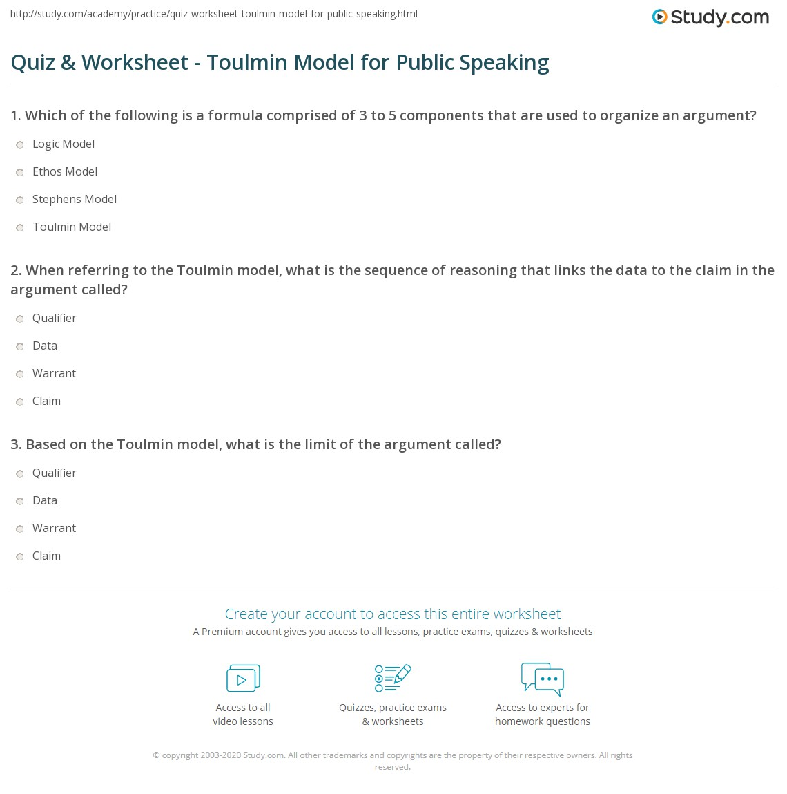 Quiz & Worksheet - Toulmin Model for Public Speaking | Study.com