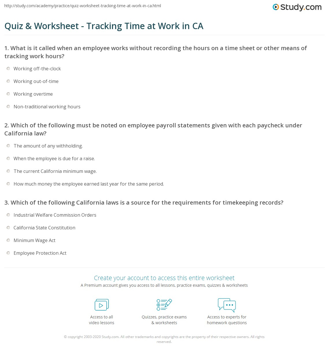 quiz worksheet tracking time at work in ca study com
