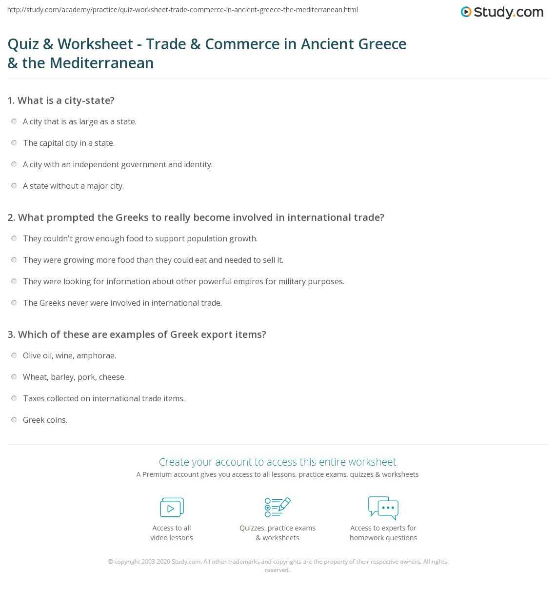 Quiz Amp Worksheet Trade Amp Commerce In Ancient Greece