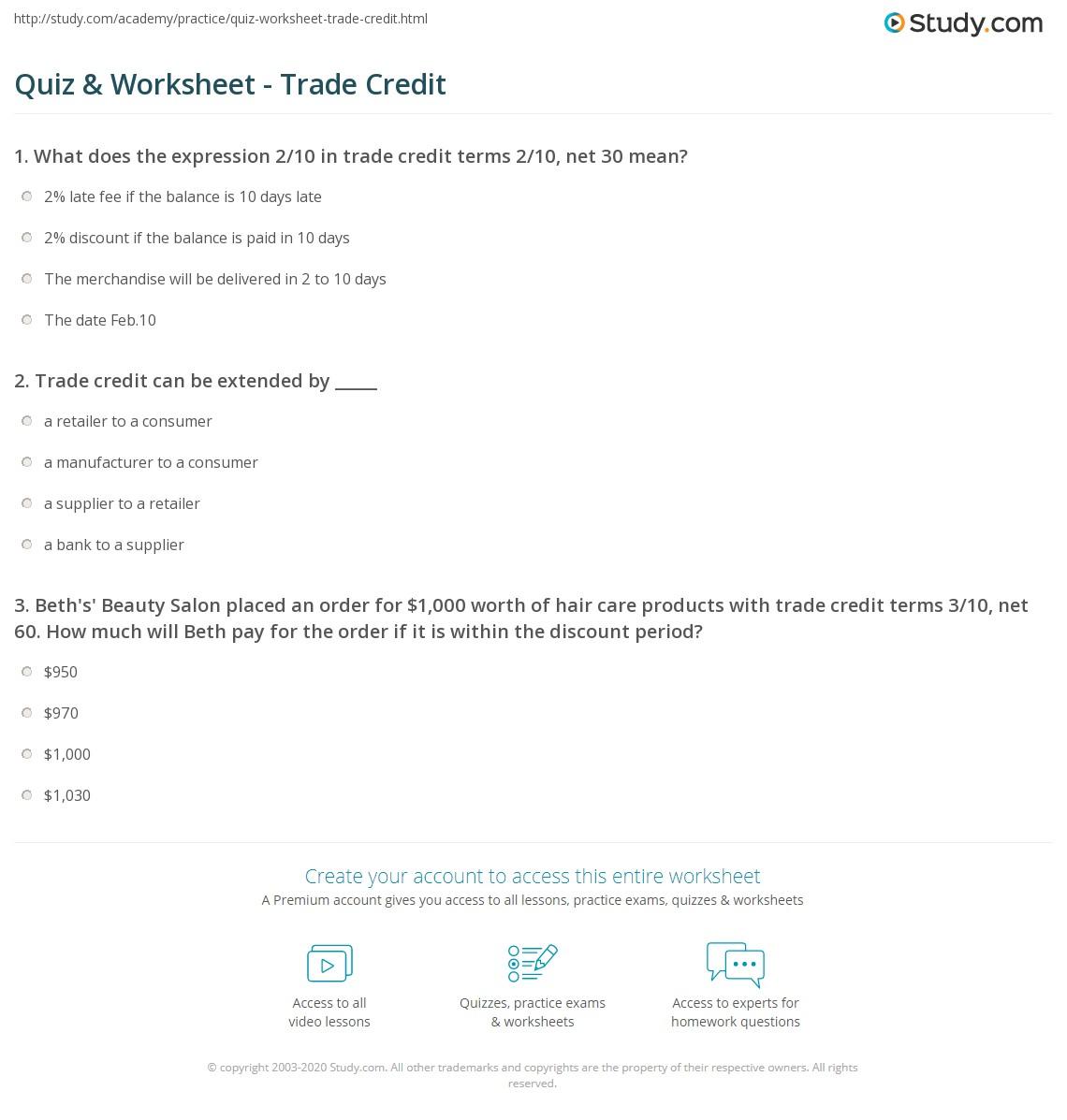 Quiz & Worksheet - Trade Credit | Study com