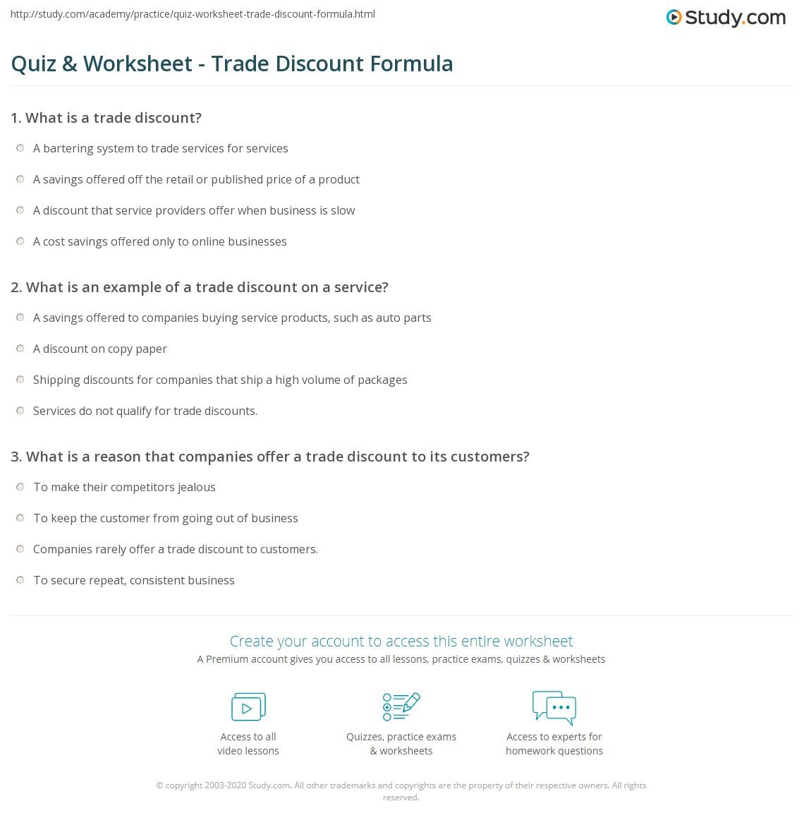 Quiz & Worksheet - Trade Discount Formula | Study.com