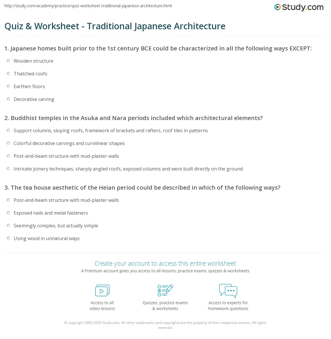 Quiz & Worksheet - Traditional Japanese Architecture   Study.com