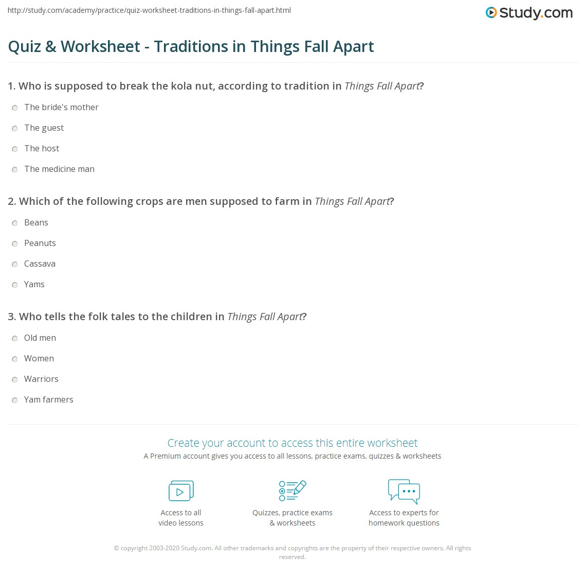 All Things Fall Apart Plot: Quiz & Worksheet - Traditions In Things Fall Apart