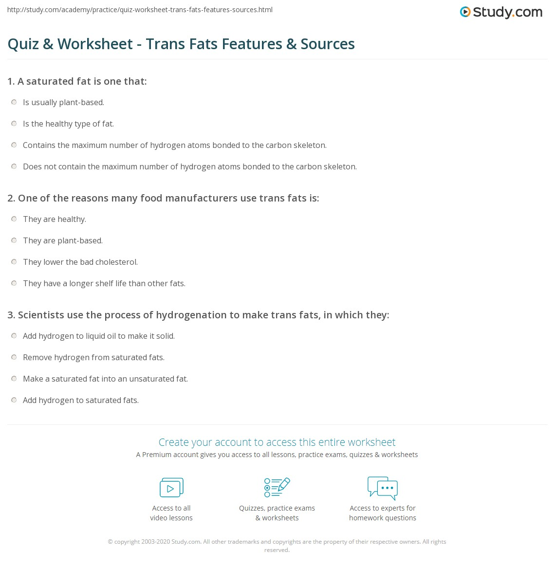 Quiz Worksheet Trans Fats Features Sources Study