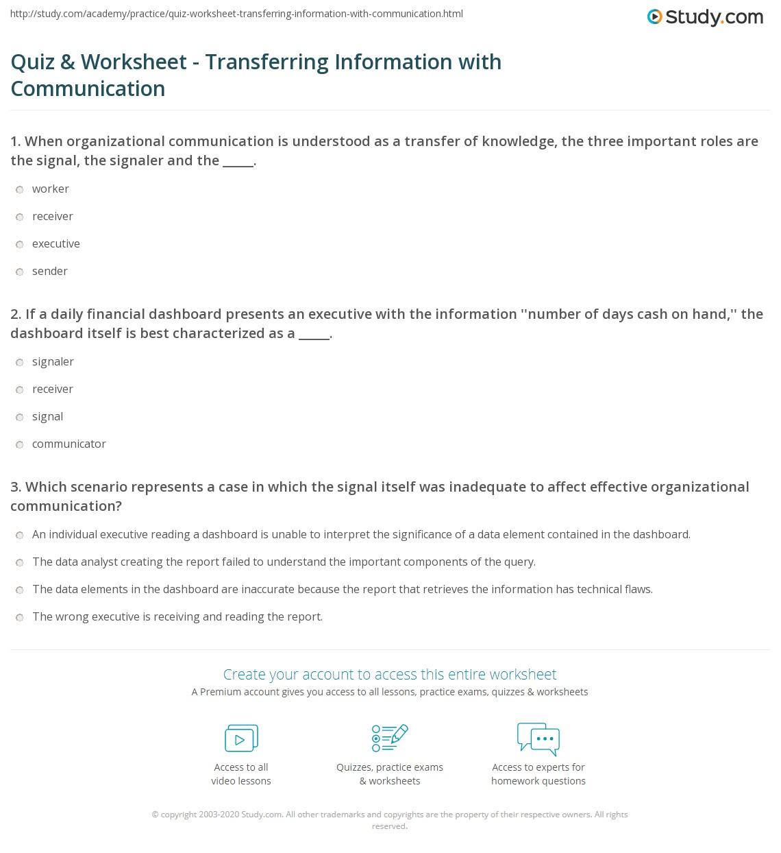 Quiz worksheet transferring information with communication print communication as information transfer within organizations worksheet freerunsca Gallery