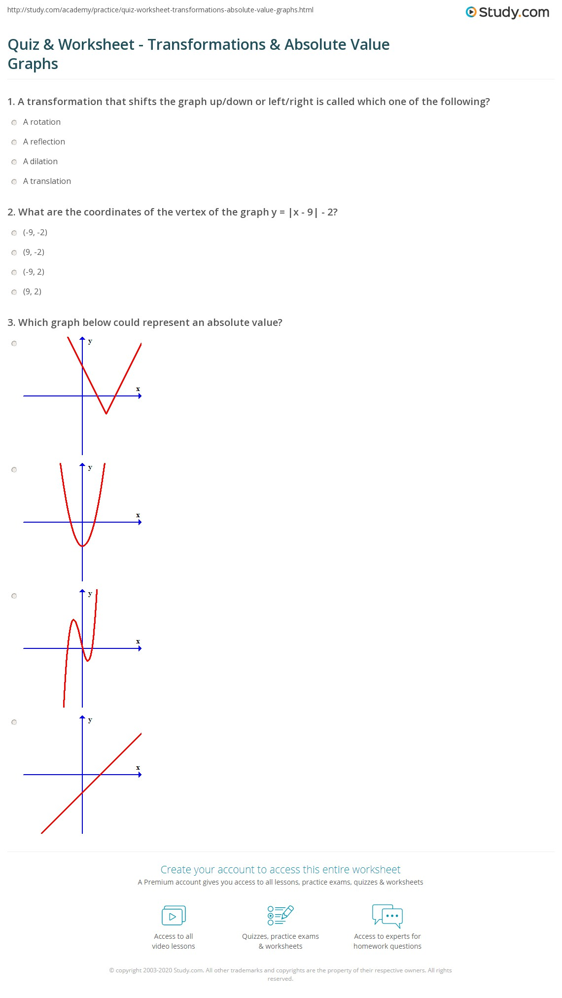 worksheet Graphing Transformations Worksheet quiz worksheet transformations absolute value graphs study com print how to graph an and do worksheet