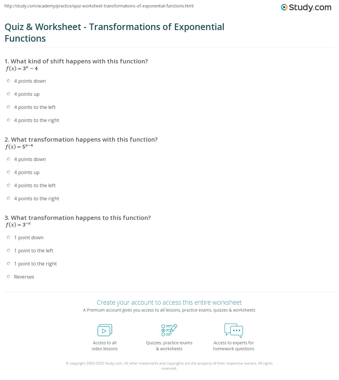 Quiz Worksheet Transformations of Exponential Functions – Exponential Functions Worksheet