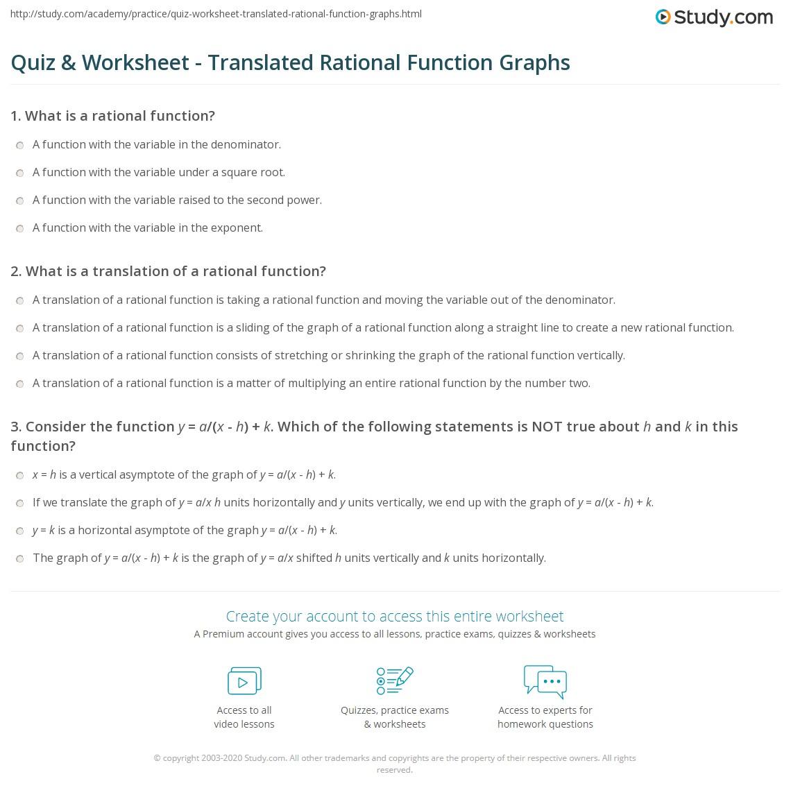 Premise Indicator Words: Translated Rational Function Graphs