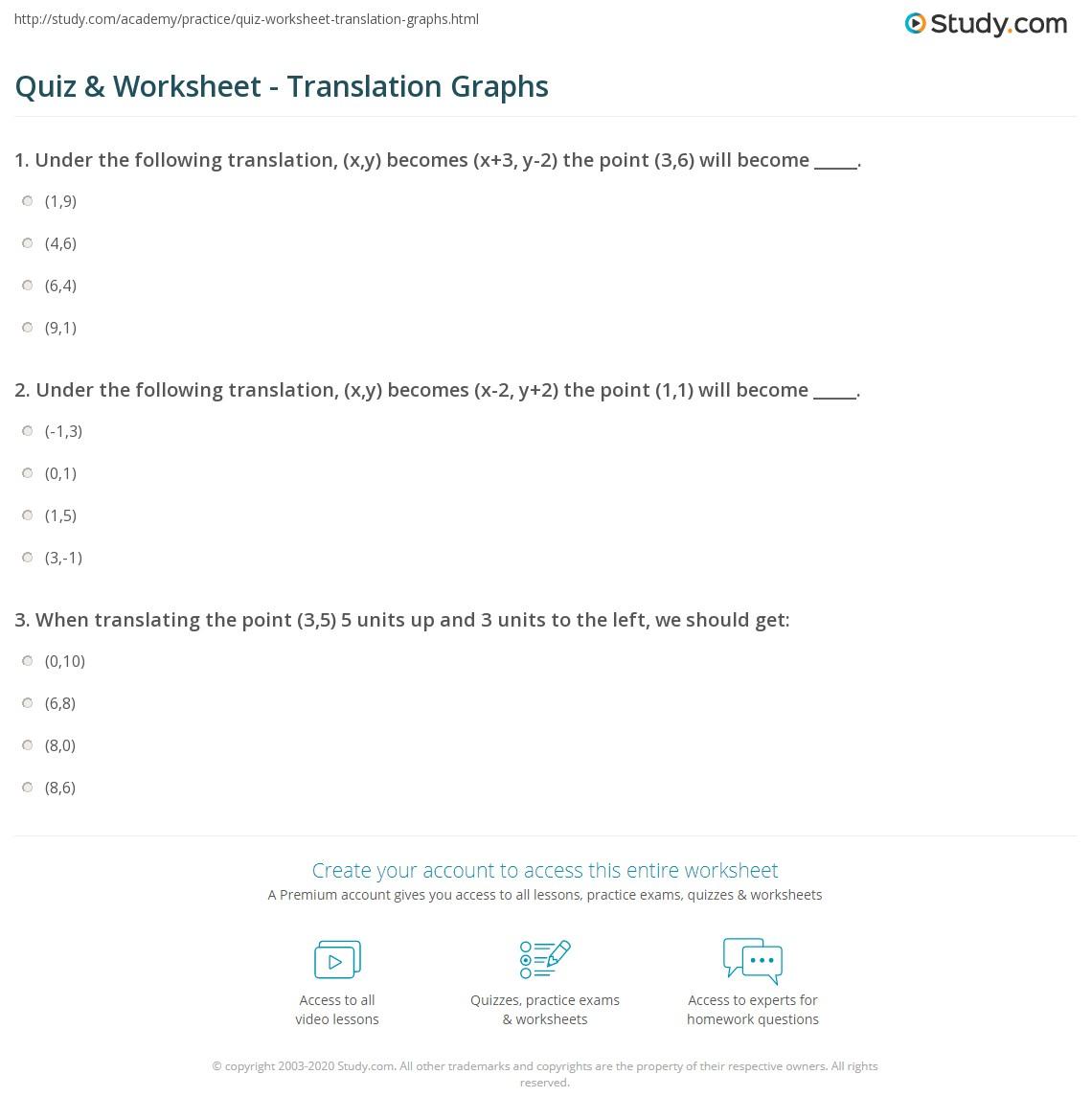 Worksheets Translations Worksheet quiz worksheet translation graphs study com print graphing translations finding a set of coordinates worksheet