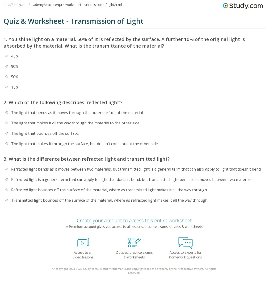 Quiz & Worksheet - Transmission of Light | Study.com