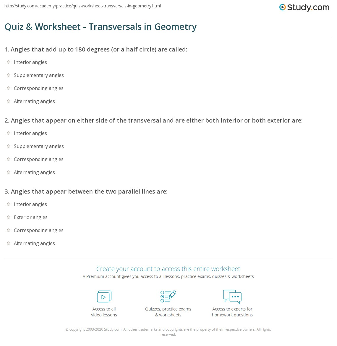 Quiz Worksheet Transversals in Geometry – Transversals Worksheet