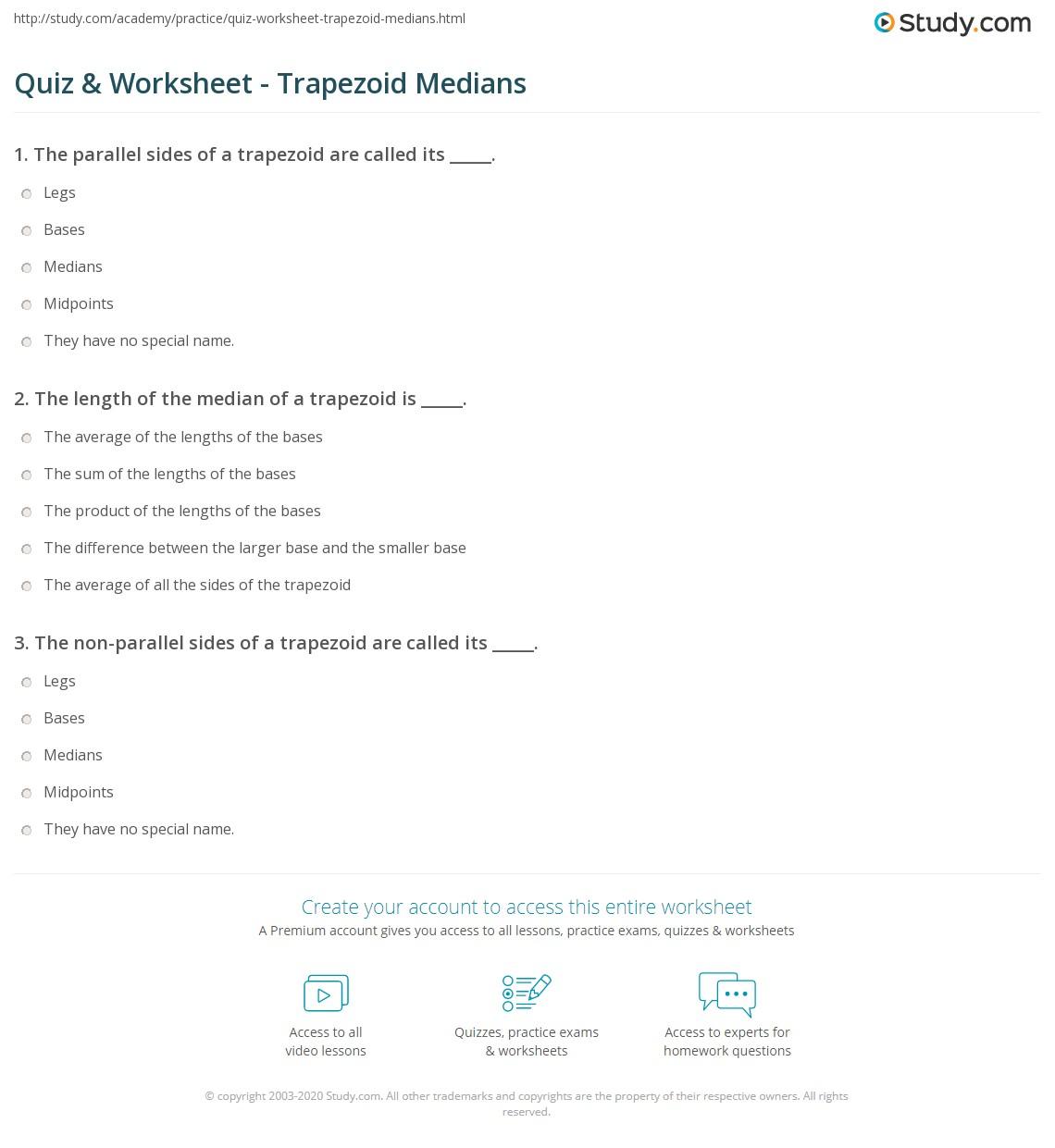 quiz worksheet trapezoid medians. Black Bedroom Furniture Sets. Home Design Ideas