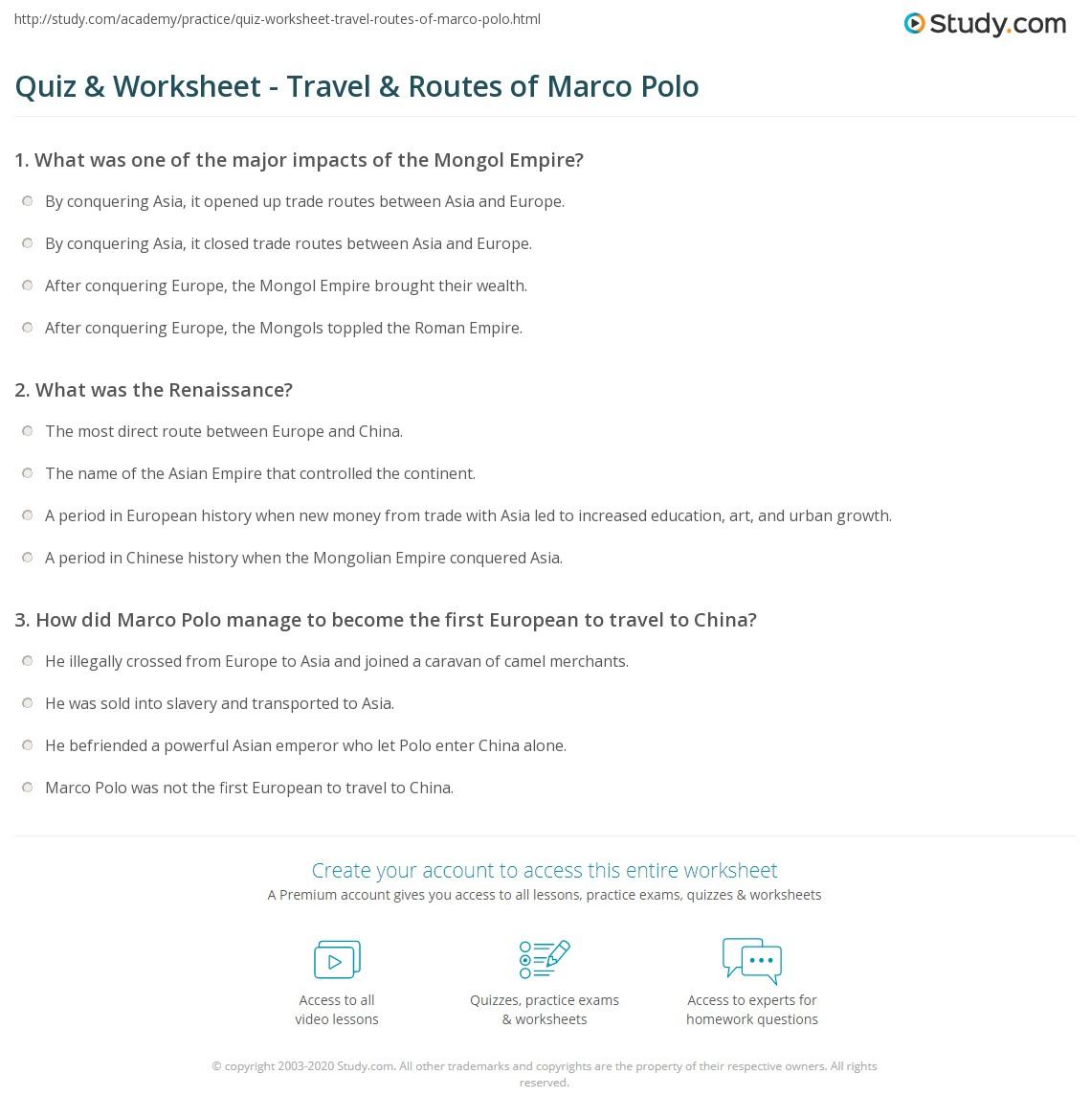 Uncategorized Renaissance Worksheets quiz worksheet travel routes of marco polo study com print polos travels worksheet