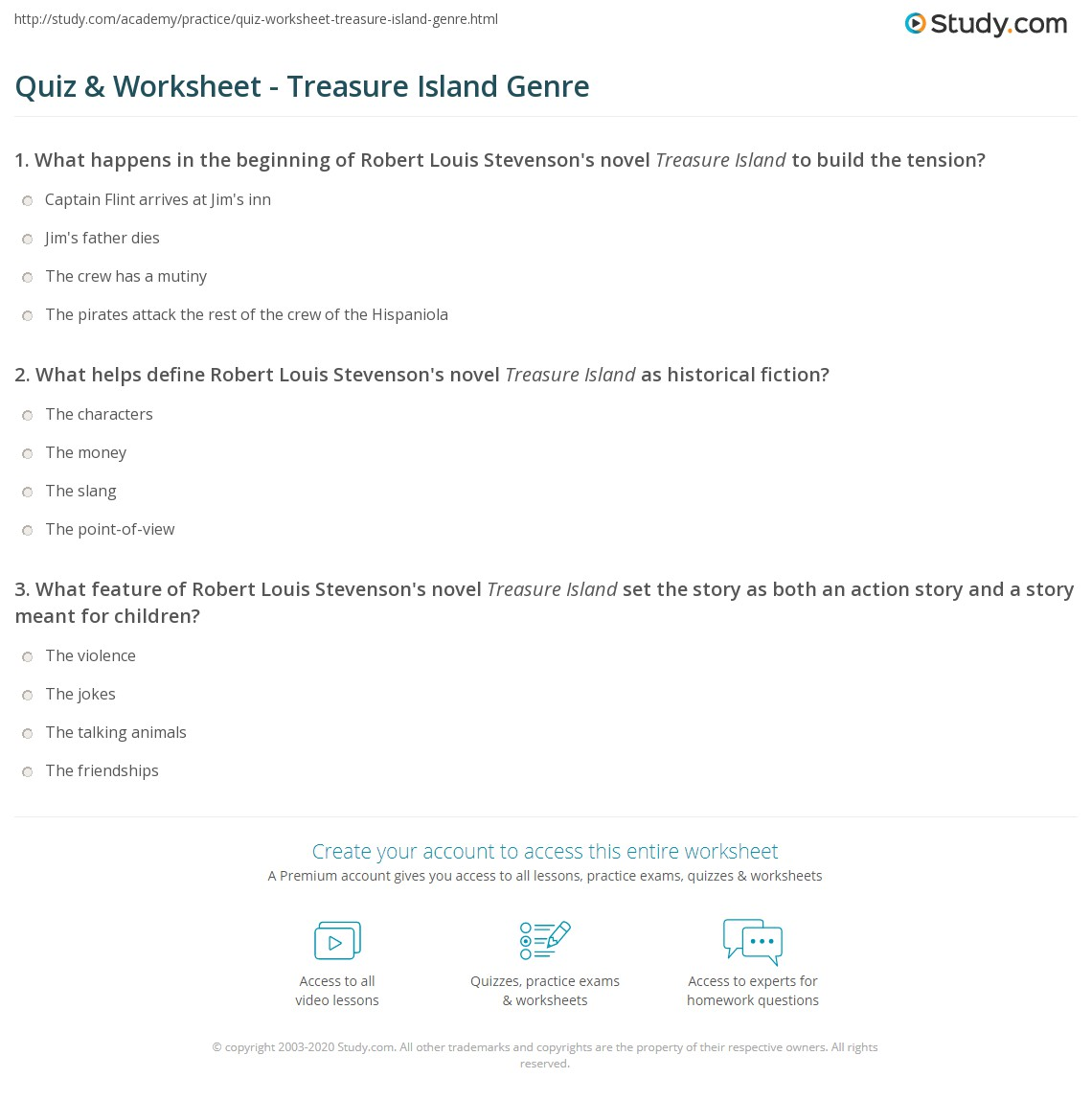 Quiz & Worksheet - Treasure Island Genre | Study.com