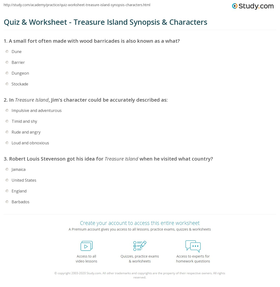 quiz worksheet treasure island synopsis characters com print treasure island summary characters author worksheet