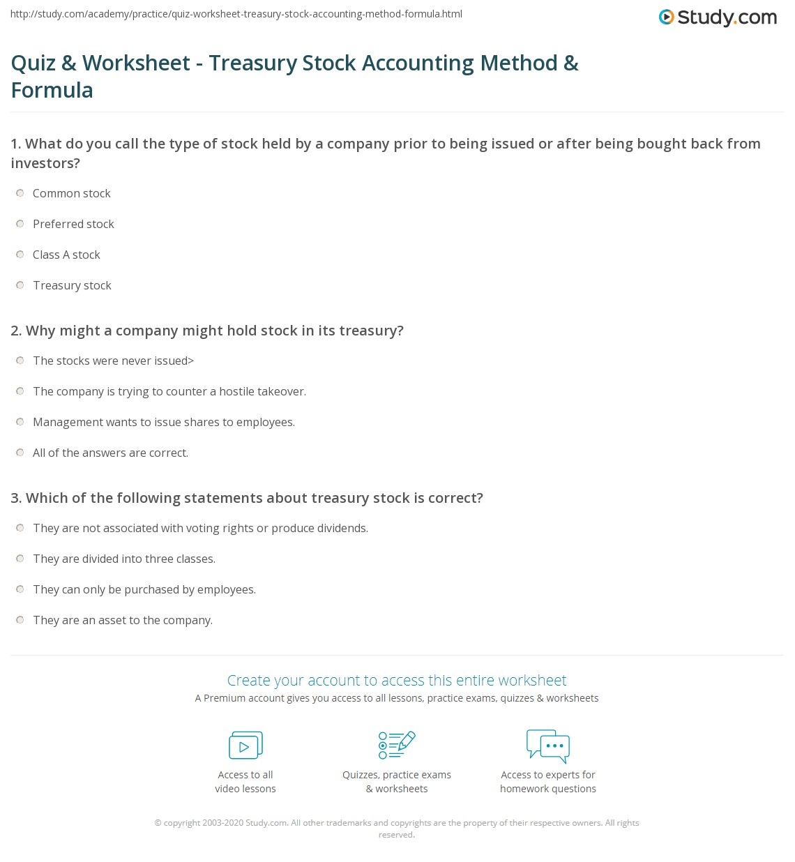 Quiz & Worksheet - Treasury Stock Accounting Method
