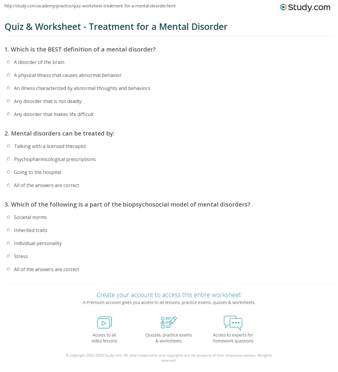 worksheet Mental Illness Worksheets quiz worksheet treatment for a mental disorder study com print what is definition worksheet