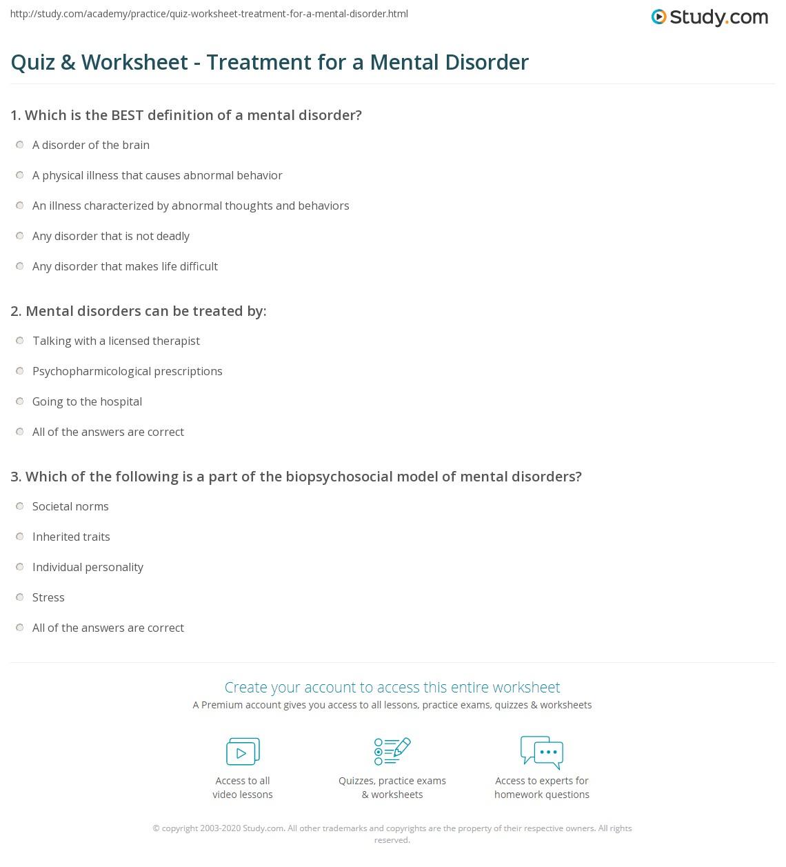 Uncategorized Mental Health Group Worksheets quiz worksheet treatment for a mental disorder study com print what is definition worksheet