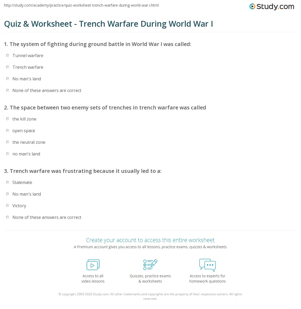 Quiz Worksheet Trench Warfare During World War I – Trench Warfare Worksheet