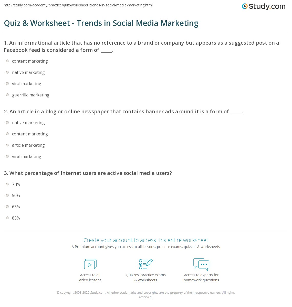 Quiz & Worksheet - Trends in Social Media Marketing | Study.com Social Media Order Forms on fashion forms, health forms, cloud forms, writing forms, google forms, database forms, family forms, social history forms, art forms,