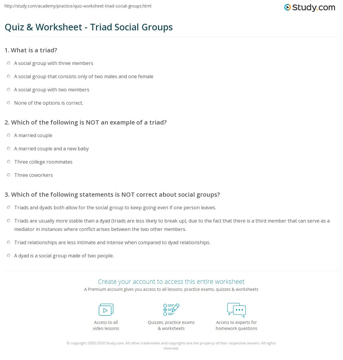 Quiz Worksheet Triad Social Groups Study