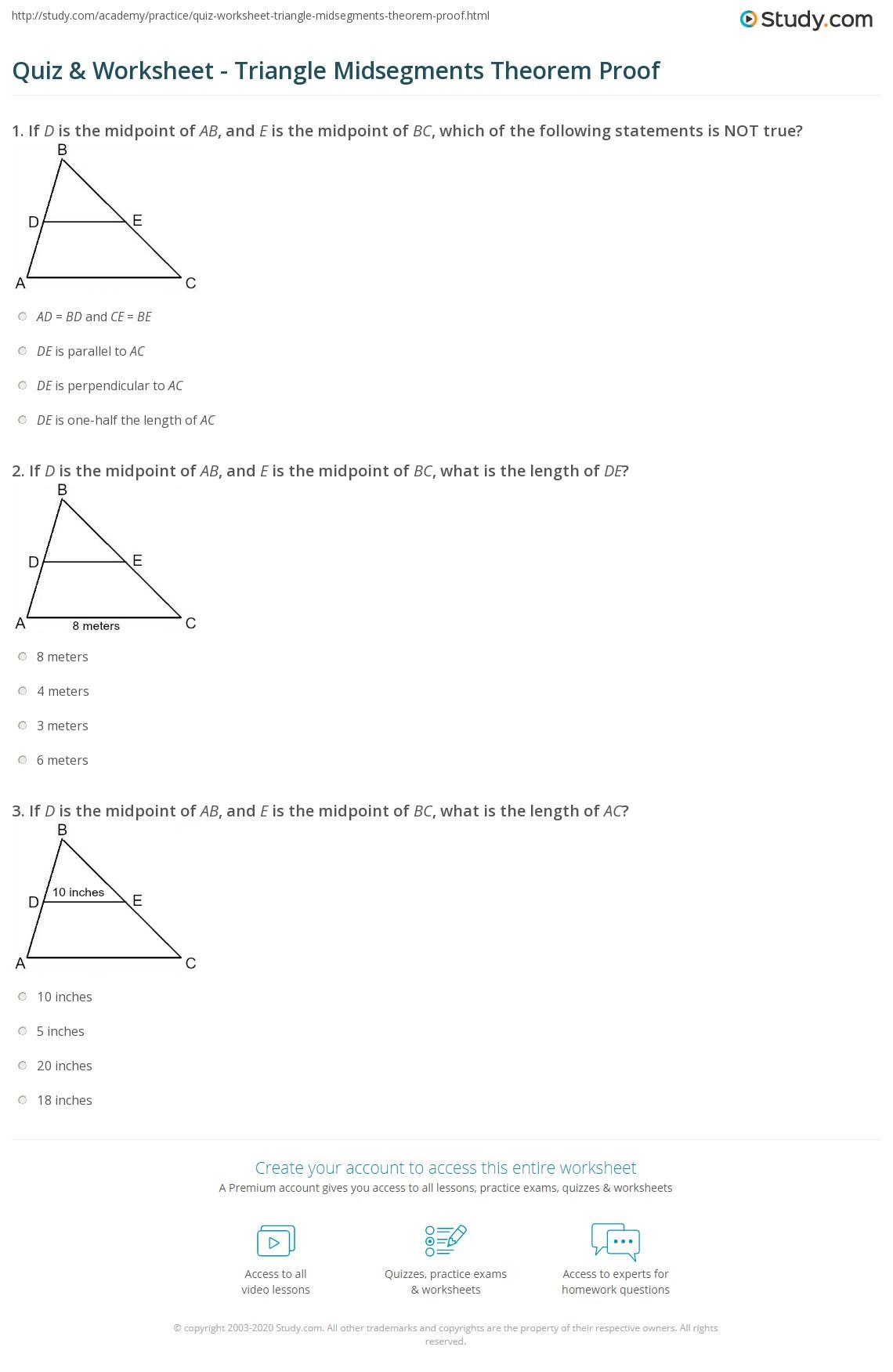Quiz Worksheet Triangle Midsegments Theorem Proof