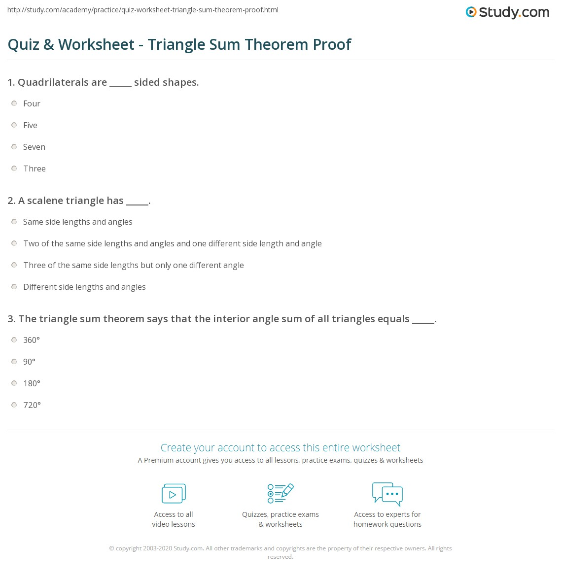 quiz worksheet triangle sum theorem proof. Black Bedroom Furniture Sets. Home Design Ideas