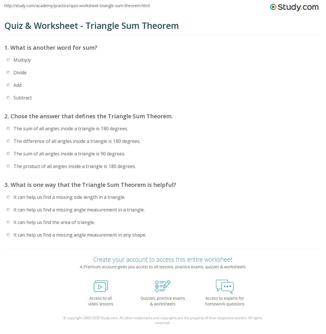 worksheet Triangle Angle Sum Theorem Worksheet quiz worksheet triangle sum theorem study com print definition examples worksheet